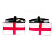 Mens Shirt Accessories - England St George Flag Cufflinks (With Black Presentation Box) - Novelty World Flag Theme Jewellery
