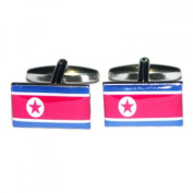 Mens Shirt Accessories - Korea DPR Flag Cufflinks (With Black Presentation Box) - Novelty World Flag Theme Jewellery
