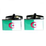 Mens Shirt Accessories - Algeria Flag Cufflinks (With Black Presentation Box) - Novelty World Flag Theme Jewellery
