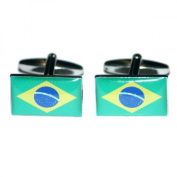 Mens Shirt Accessories - Brazil Flag Cufflinks (With Black Presentation Box) - Novelty World Flag Theme Jewellery
