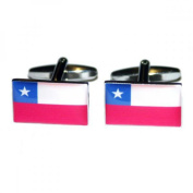 Mens Shirt Accessories - Chile Flag Cufflinks (With Black Presentation Box) - Novelty World Flag Theme Jewellery