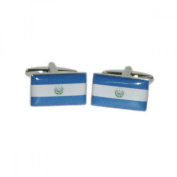Mens Shirt Accessories - Elsalvador Flag Cufflinks (With Black Presentation Box) - Novelty World Flag Theme Jewellery