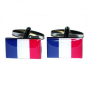 Mens Shirt Accessories - France Flag Cufflinks (With Black Presentation Box) - Novelty World Flag Theme Jewellery