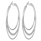 Smile YKK 925 Sterling Silver Women's Fashion Three Layers Hoop Dangle Earrings