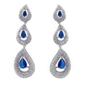 SELOVO 3 Teardrop Pierced Dangle Earrings Silver-Tone Sapphire Colour Zircon Blue Birthstone Crystal
