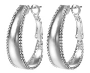 Smile YKK 925 Sterling Silver Fashion Hoop Dangle Earrings Ear Stud for Ladies