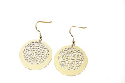 Real 18K Gold Plting Hollow Flower Round Drop Earrings