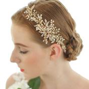 Bridal Handmade Gold Tone Crystal Leaf Style Headband Party Wedding Hair Accessories