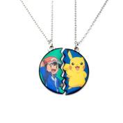 Official Pokemon Pikachu and Ash Ketchum Friendship Pendant Necklace - 2 Piece