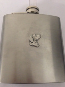 Labrador Head PP-D13 English Pewter Emblem on a 180ml Stainless Steel Hip Flask with Captive Top