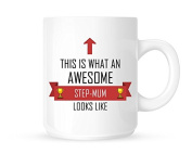 This Is What An Awesome Step-Mum Looks Like - Tea/Coffee Mug/Cup - Red Ribbon Design - Great Gift Idea
