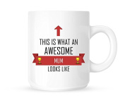 This Is What An Awesome Mum Looks Like - Tea/Coffee Mug/Cup - Red Ribbon Design - Great Gift Idea