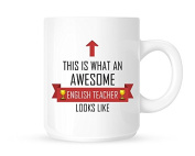 This Is What An Awesome English Teacher Looks Like - Tea/Coffee Mug/Cup - Red Ribbon Design - Great Gift Idea