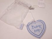 Baby Boy Blue Checked Pattern Hanging Keepsake Love Heart Gift Present
