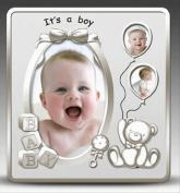 Photo Frame - Its A Boy Satin Silver Baby Photo Frame