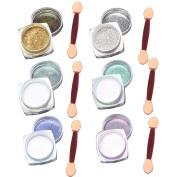 6 Pcs 1g Nail Art Mirror Glitter Shinning Nail Chrome Pigment Powder Nail Art Tools with Sponge Stick