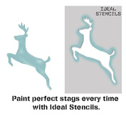 leaping stag deer stencil, home decorating nursery wall painting/art craft stencil