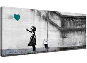 Cheap Teal Canvas Wall Art of Banksy Balloon Girl - 1220 - Wallfillers®