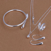 STOREINBOX New Fashion Solid Silver Jewellery Sets Necklace+Bracelet+ Ring +1 Pair Earrings by SIB