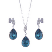 Galaxy Jewellery Earrings & Pendant Necklace Set with. Ocean Blue Crystals - Ideal for Women and Girls - Comes with Luxury Gift Box