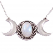 St Justin, Pewter Triple Moon Necklace 46cm - Moonstone