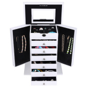 Songmics XXL Jewellery Box Earrings Drawer Jewellery Organiser Gift for girls 7 layers White JBC06W