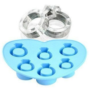 Hosaire 1X Wedding Diamond Ring Ice Cube Tray Chocolate Fondant Silicone Cake Mould Mould Blue