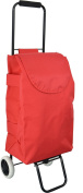 Harbour Housewares 2 Wheel Collapsible, Lightweight Shopping Trolley - Red