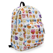 KING DO WAY Women's Travel Backpack Emoji Shoulder School Book Bag Rucksack White 32 x 13 x 42cm