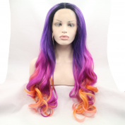 Kylie Jenner dark root Heat Resistant Fibre long Hair Ombre purple red to yellow Body Wave Hair Wigs Two Tone Synthetic Lace Front Wig For Women Drag Queen Hair Cosplay Wig
