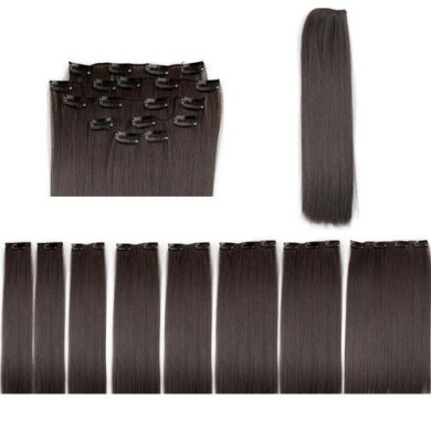 Wig - TOOGOO(R)20cm x 50cm Clip in Extensions Artificial Hair Integrations Hair Thickening #4 - Dark Brown