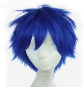 God's Hand 30cm Dark Blue Short Straight Anime Cosplay Wigs for Men Girls Halloween Party