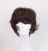 God's Hand 33cm Dark Brown Short Curly Anime Cosplay Wigs with Bang for Men Boys Girls Costume Halloween Party
