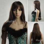 AABABUY New long straight wig brown wig women oblique bangs wig cospaly wig synthetic wig