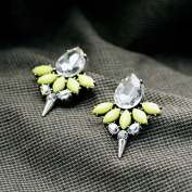 Lvxuan Women Statement Trendy water drop Jewellery Elegant Yellow Resin Rivet Stud Earrings