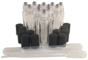 12 New, Premium Quality, 10ml Clear Glass Roll-on Bottles with Stainless Steel Roller Balls, Black Plastic Caps and (3) 3ml Plastic Droppers for Perfume, Aromatherapy Blends & Essential Oils