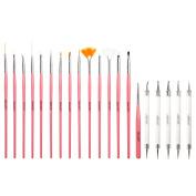 CICI & SISI New 20Pcs Nail Art Design Polish Painting Detailed Brushes & Dotting Pen / Dotter Tool Kit Set