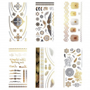 COKOHAPPY Metallic Temporary Tattoo , 6 Different Sheets Beach Style Mandala Rome Cross Lovely Sticker ( One-set ) for Men Women