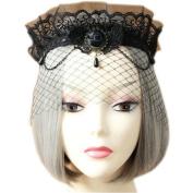 Joyci Halloween High Grade Lace Half Face Mask Women's Vintage Costume Hair Decor