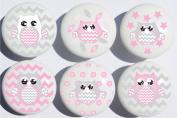 Pink Owl Drawer Pulls / Owl Ceramic Nursery Drawer Knobs, Set of 6