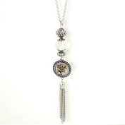 Chunk Snap Pendant Tassel Necklace 100cm Includes Chain and Snap