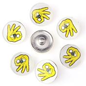 ZARABE 10PC Mix Snap Button 18MM OK Gesture Glass Rhinestone Jewellery Charms Random