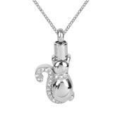 ZARABE Cremation Jewellery Cat White Diamonds Urn Necklace Memorial Ash Keepsake Pendant