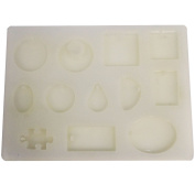 Funshowcase Cabochon Gemstone Jewellery Silicone Mould with Hole for Polymer Clay, Crafting, Resin Epoxy, Pendant Earrings Making _ 12 Cavity
