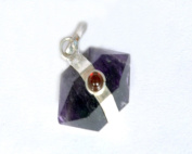 WholesaleGemShop - Amethyst Herkimer Pendant With 3 mm Garnet
