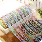 Akak Store 6 Rolls 1.8cm Bud Silk Stationery Stickers Glittery Hollow Out Lace Tape Colourful Decoration Masking Tape DIY Sticker Scrapbooking Tools
