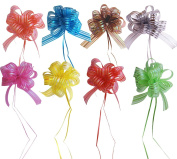 OZXCHIXU (TM) Set of 8 Elegant Pull Bows with 90cm Long Ribbon Strings to Wrap the Box, Assorted Colours, Red, Pink, Yellow, Green, Brown, Silver, Blue