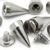 RUBYCA 500 Sets 14MM Silver Colour Bullet Cone Spike and Stud Metal Screw Back for DIY Leather-craft