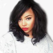 Sunwell Brazilian Virgin Hair Short Bob Lace Front Wigs for Black Women - Natural Black 130% Density 30cm