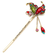 YOY Fashion Long Hair Decor Chinese Traditional Style Women Girls Hair Stick Hairpin Hair Making Accessory with Butterfly,Multicolor